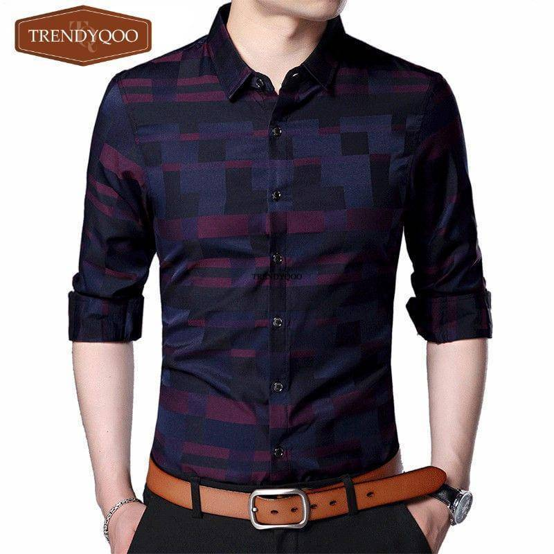 Business Casual 2020 Mens.Men Shirt Business Casual 2020 Plaid Long Sleeve